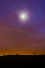 Hilltop Benches in the moonlight