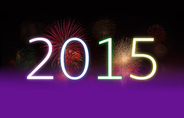 New Year 2015 and Fireworks with Copy Space.