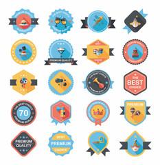 Birthday badge banner design flat background set, eps10