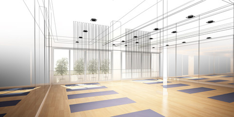 abstract sketch design of interior yoga room
