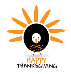 Happy Thanksgiving with  graceful turkey logo vector