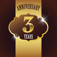 3 Years Anniversary, Golden Design Template / Background / Seal