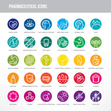 Pharmaceutical and medical icons set