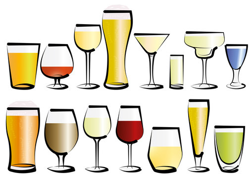 Vector illustration set of glasses, as you can find in a bar or a restaurant. Any kind, for any use, for water, soft drinks, alcohol and liquor