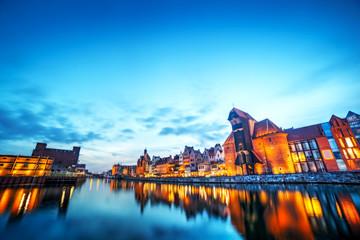 Wall Mural - Gdansk, Poland old town, Motlawa river. Famous Zuraw crane