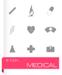 Vector black medical icons set