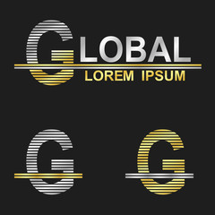 Metallic business font logo design - letter g (global)