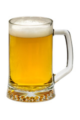 Glass of beer on a white background.