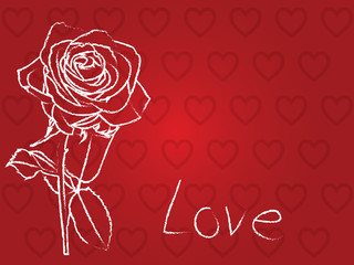 Hearts and rose background
