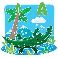 Little funny crocodile or alligator. Alphabet A