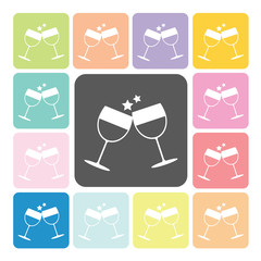 Two glasses Icon color set vector illustration