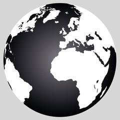 Weltkugel: Schwarz - Weiß