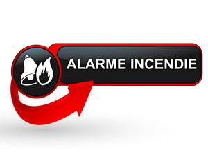 alarme incendie sur bouton web design rouge