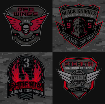 Stealth pilot military patch emblems