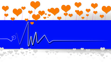 Heart monitor, ECG Electrocardiogram in abstract design