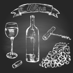 Set of sketch style wine elements
