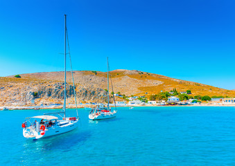 sailing boat at Pserimos pictorial island in Greece