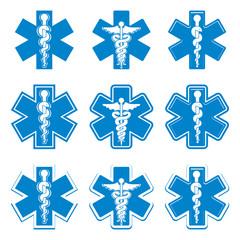 Emergency ambulance medicine symbols set.