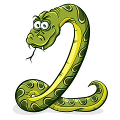Green snake cartoon.