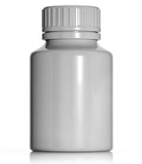 White plastic medical container.