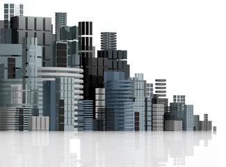 Futuristic city panorama illustration.