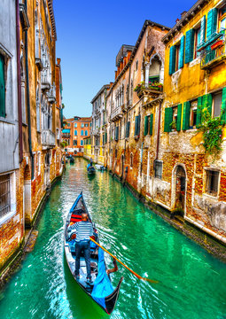 Traditional Gondolas at Venice Italy. HDR processed