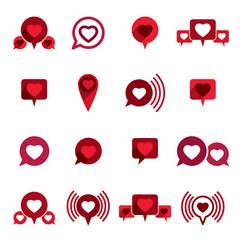 Love theme vector icons set, romantic dialog, conceptual valenti