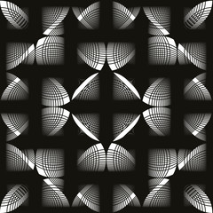 Seamless vintage floral background, monochrome geometric lined s