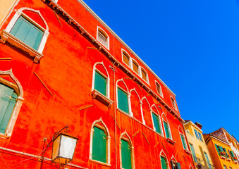Poster de jardin Rouge Beautiful very old building at Venice Italy