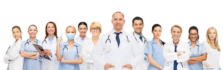 group of smiling doctors with clipboard