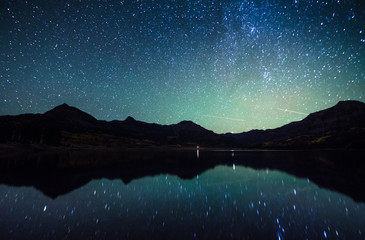 Foto auf Acrylglas Schwarz milky way reflection at William's lake,colorado