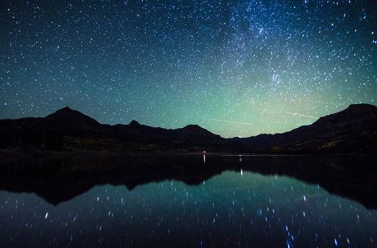 milky way reflection at William's lake,colorado