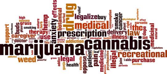 Marijuana word cloud concept. Vector illustration