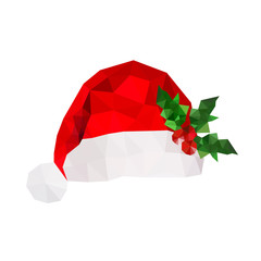 Illustration of origami santa hat with holly leaves