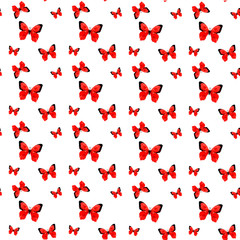 Illustration of seamless pattern with red origami butterfly