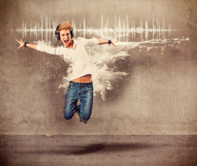 boy with headphones jumping - guy 04