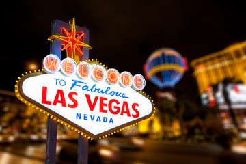 Fotorolgordijn Las Vegas Las vegas sign and strip street background