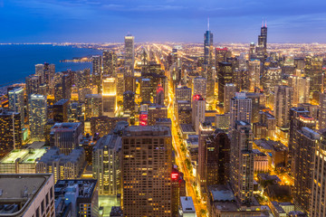 Wall Mural - Aerial view of Chicago downtown skyline at night.