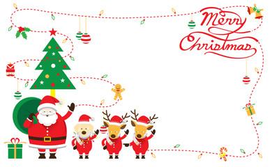 Santa, Dog & Reindeer, Border & Background