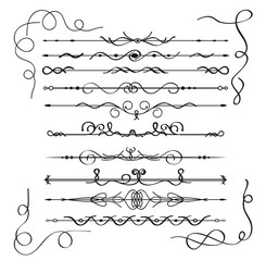 Calligraphic design elements or decorations