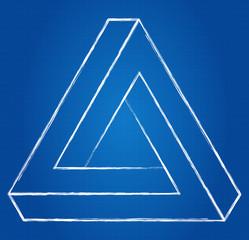 Impossible Triangle Optical Illusion Blueprint