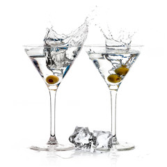A Toast with Dry Martini. Cocktails with Big Splash