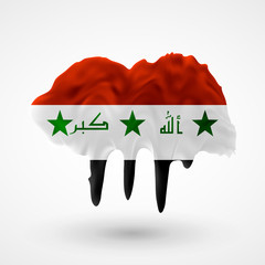 Flag of Irak painted colors