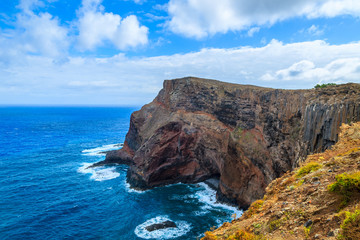 Rocks cliffs and ocean view at Cape Sao Lourenco, Madeira island