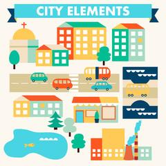 Printed kitchen splashbacks Cartoon cars Flat vector city elements