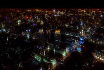 Blurred abstract background city nigh tview