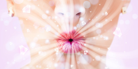 Poster de jardin Gerbera Beautiful girl mouth breathing abstract white lights and crystal