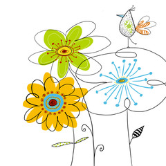 Graphic bird on flowers.Summer floral illustration