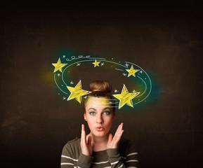 girl with yellow stars circleing around her head illustration