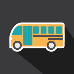 Vector of school bus car with long shadow